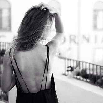 tank top dress black cute top tumblr long straps spagetti straps low back low cut back blouse