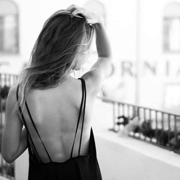 dress top black low cut back tank top low back long straps spagetti straps tumblr cute