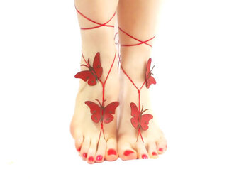 shoes barefoot sandals butterfly red shoes wedding bridesmaid beach wedding