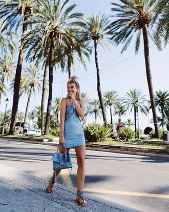 dress tumblr mini dress blue dress denim dress halter neck halter dress sandals flat sandals bag blue bag shoes