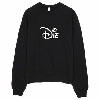 sweater black white disney goth sweatshirt hoodie