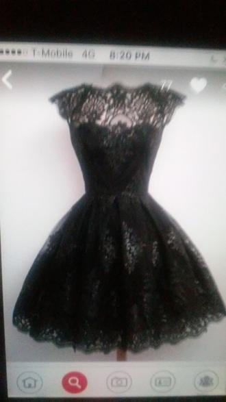dress black lace dress full skirt dress short sleeve