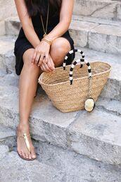 shoes,sandals,gold sandals,gold flat sandals,dress,black dress,summer outfits,summer dress,bag,beach bag,camel bag,necklace,bracelets,flat sandals,Gold low heel sandals,straw bag,summer bag
