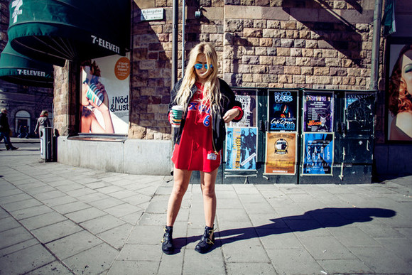 shirt shoes sunglasses sixters red jacket fanny lyckman