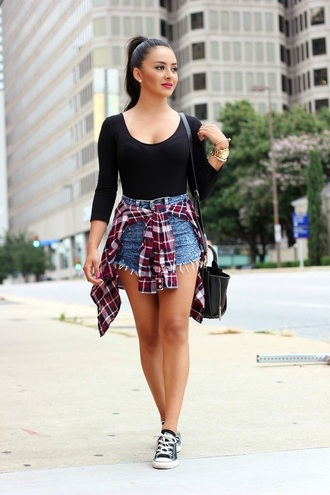 blouse black shirt flannel shirt high waisted shorts shirt shorts