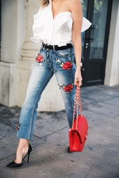 jeans,black heels,tumblr,blue jeans,embroidered,embroidered jeans,embroidered denim,bag,red bag,chain bag,pumps,pointed toe pumps,high heel pumps,shirt,white shirt,one shoulder,ruffle,ruffle shirt,date outfit,spring outfits,rose embroidered