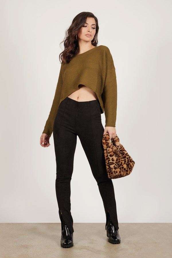 Zendaya Olive Ribbed Sweater