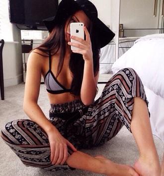 swimwear triangle underwear black and white boho chic bra