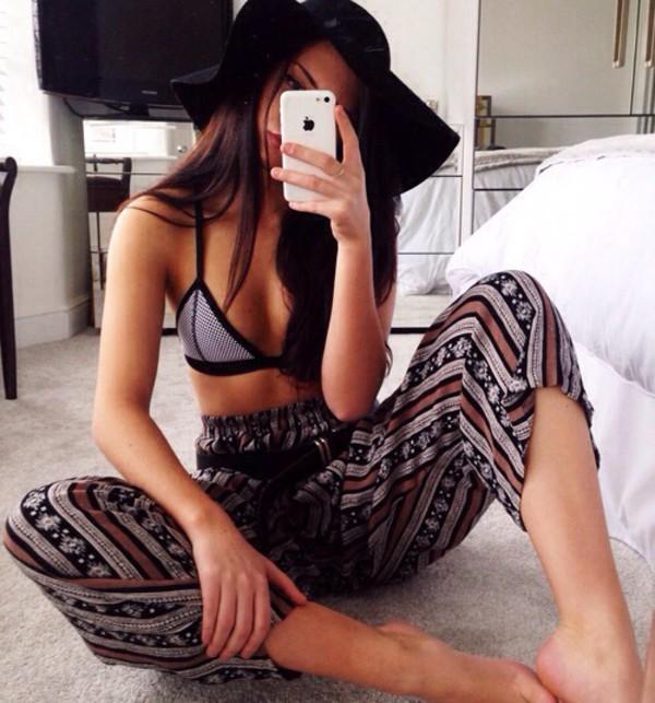 pants boho pants bikini hat swimwear triangle underwear black and white boho chic bra
