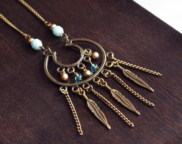 music festival coachella bohemian feathers hippie jewels mint gold long necklace jewelry fashion style dangle dangly necklace
