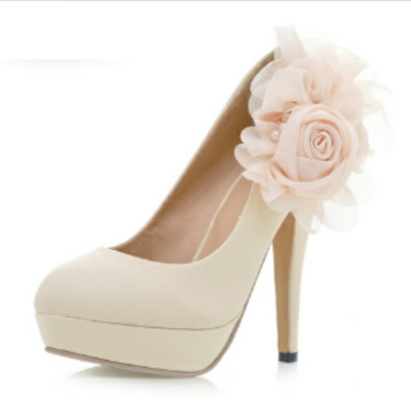 shoes flowers pastel pink pumps nude high heels