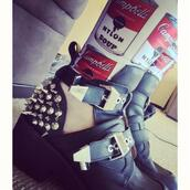 shoes,spiked shoes,tumblr,buckles,instagram,jeans