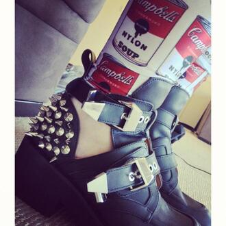 shoes spiked shoes tumblr buckles instagram jeans