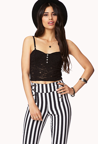 Buttoned Lace Bustier | FOREVER21 - 2048355878