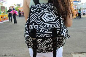 bag aztec tribal pattern backpack back to school homework pattern stripes style cute classic nice weheartit white black black and white
