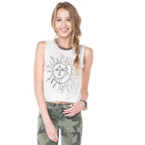 Agathe Sun and Moon Tank - Brandy Melville - Polyvore