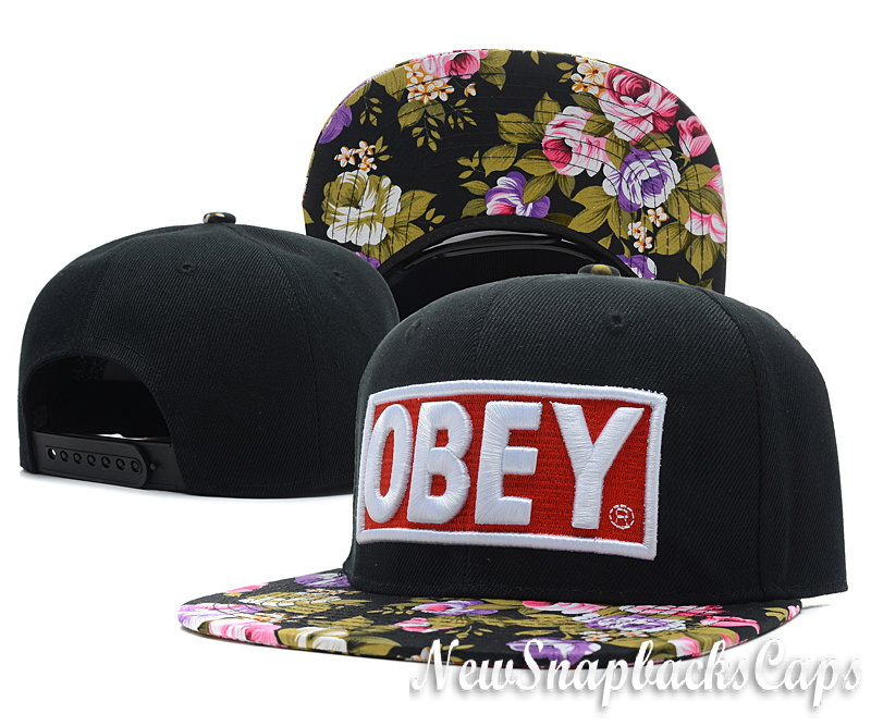 Obey Floral 5 Panel Cap Hats Original Snapback Black Adjustable