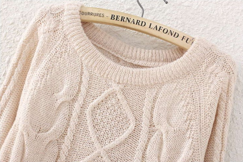 Beige Long Sleeve Diamond Patterned Knit Sweater - Sheinside.com