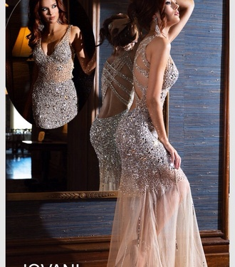 dress prom dress sequins jewels nude dress nude champagne dress gorgeous cute sparkly style sparkle homecoming dress long dress long prom dress gown evening dress girl girly