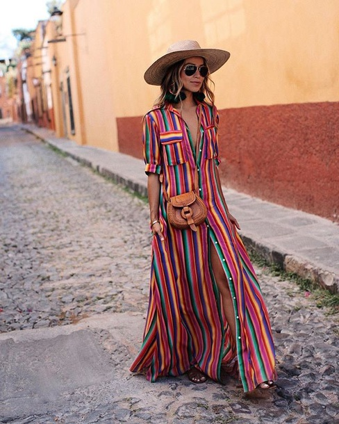 Dress Striped Dress Maxi Dress Long Dress Hat Sun Hat