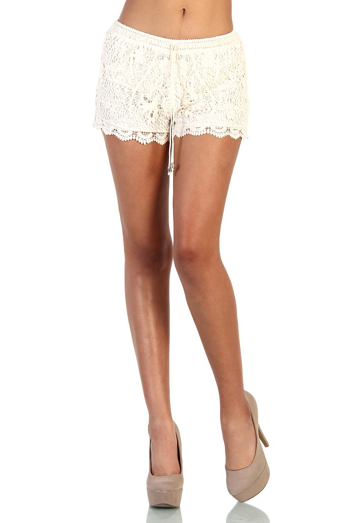 Floral Lace Shorts - Ivory