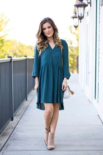 thedaintydarling blogger dress shoes jewels fall outfits louis vuitton ankle boots blue dress