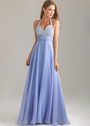 Beaded halter neck lavender a line long evening gown [night moves 6420 lavender]