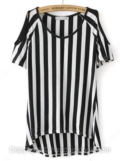 Black Off the Shoulder Short Sleeve Striped Asymmetrical T-Shirt - HandpickLook.com