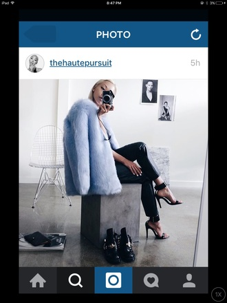 coat girly cute fur coat sleek fashion classy blue black leather pretty tumblr tumblr girl tumblr outfit big fur coat