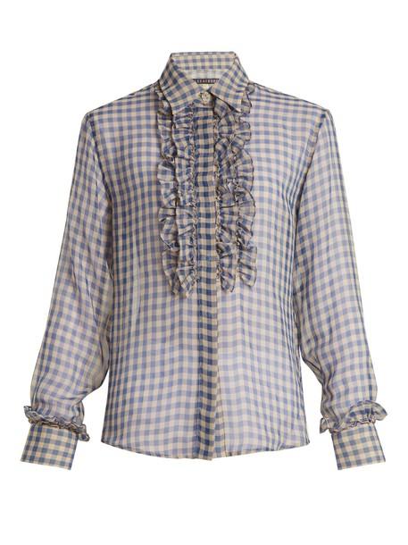 ALEXACHUNG shirt sheer gingham blue top