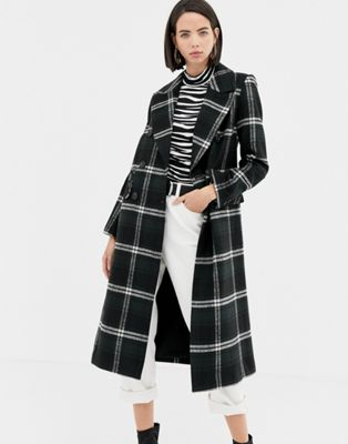 Warehouse double breasted tailored coat in green check at asos.com