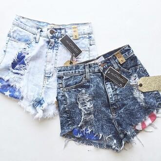 shorts denim denim shorts cut off shorts america american flag flag shorts american flag shorts july 4th