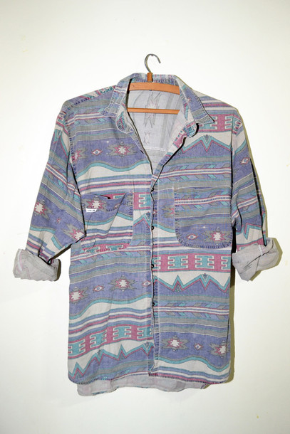 shirt pattern denim aztec tribal pattern red green blue buttons clothes hippie fashion hipster button up blouse vintage designed blue shirt