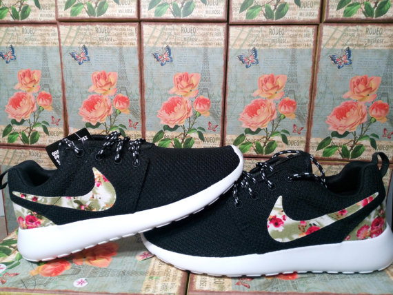 eb8c14c30ff2 custom nike roshe run black athletic women shoes with fabric flowers ...