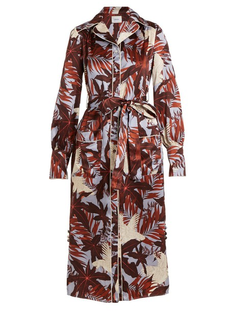 Erdem shirtdress silk satin print burgundy dress