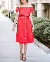 skirt,tumblr,midi skirt,red skirt,button up skirt,button up,top,red top,crop tops,off the shoulder,off the shoulder top,sandals,sandal heels,high heel sandals,bag,shoes