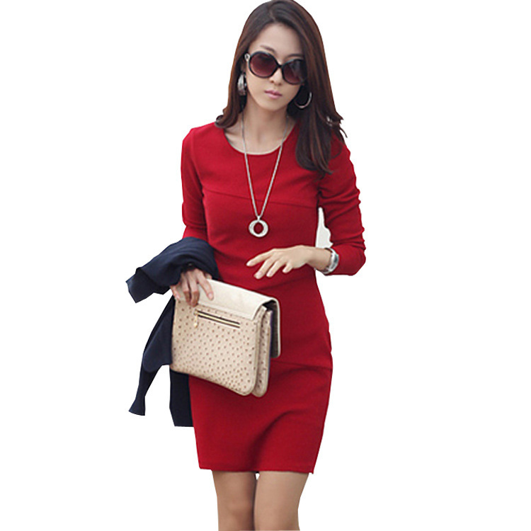 Newest Women's Sexy Solid O-neck Dress Slim Long Sleeve Tight Package Hip Dress Free Shipping | Amazing Shoes UK