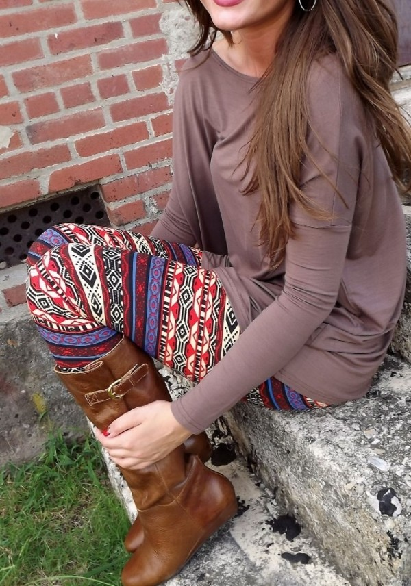 pants leggings printed leggings boots leather boots brown oversized sweater sweater blouse