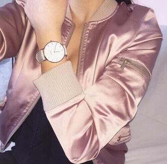 jacket bomber jacket pretty rose gold