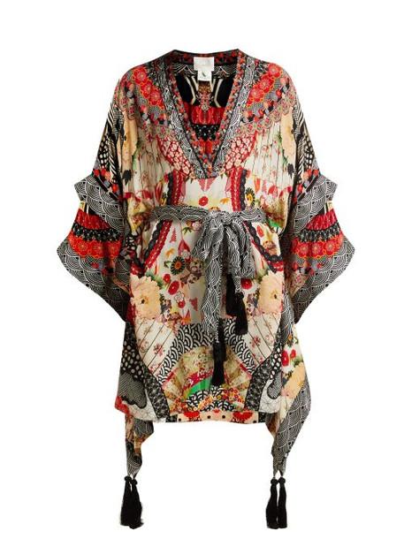 Camilla - Belted Floral Print Silk Kimono Dress - Womens - Red Multi