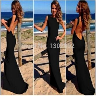 little black dress backless dress black prom dresses long party dress women fashion