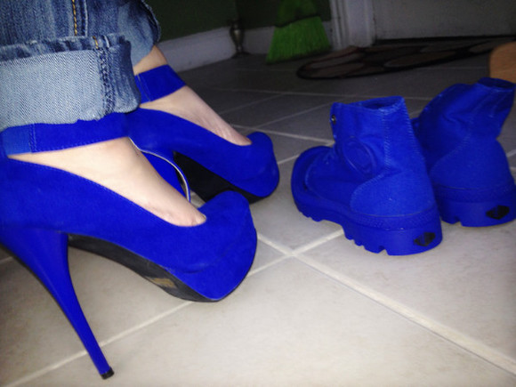 shoes blue boots blue high heels charlotte russe palladium