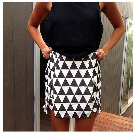 skirt geometric triangles aztec checkered