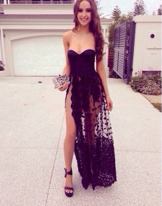 dress prom sheer girl hair brunette floral black prom dress smile happy clutch black dress slit