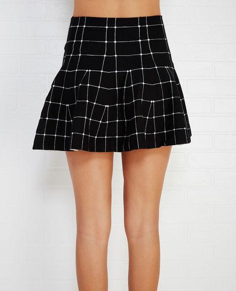 Grid Print Sweater Knit Skater Skirt | Wet Seal
