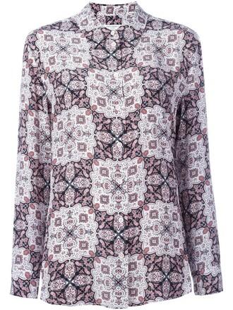 blouse women print silk purple pink top