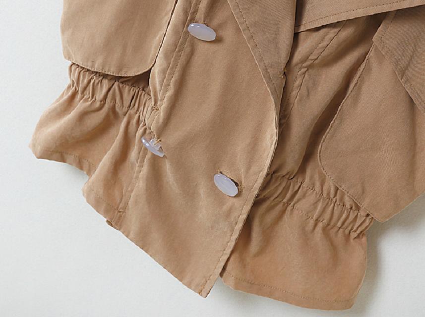 Khaki Lapel Sleeveless Pockets Chiffon Vest - Sheinside.com