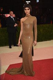 dress,gown,asymmetrical dress,long prom dress,prom dress,red carpet dress,zendaya,met gala,bodycon dress,asymmetrical,metallic,sparkly dress