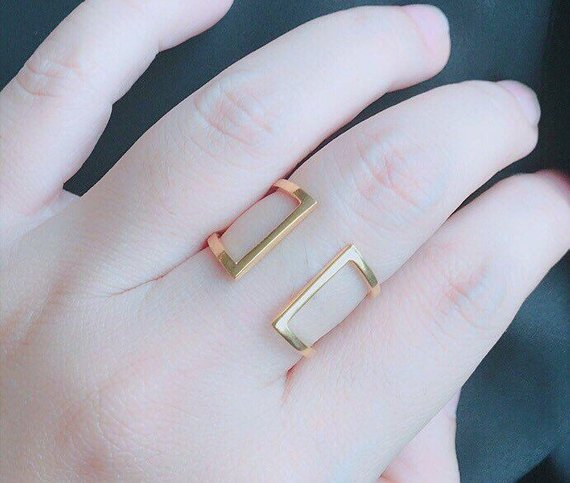 Statement Ring - Double Open Ring - Gold Ring - Unique Ring - Delicate Ring