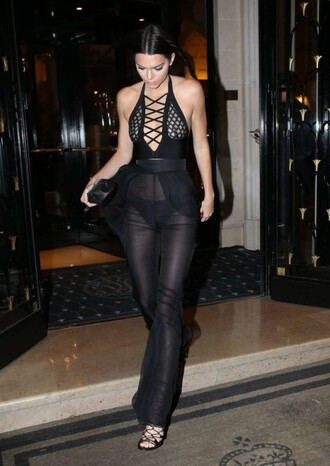 top pants kendall jenner see through sheer all black everything sandals fashion week